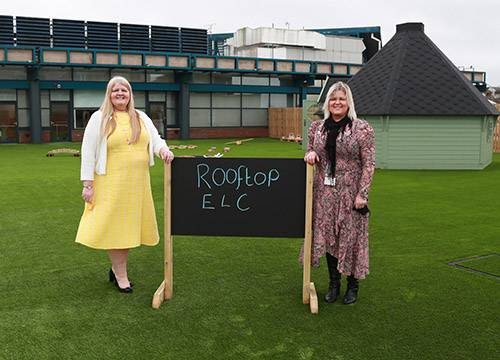 Janice Tod, Early Learning and Childcare Locality Lead Officer (East Kilbride) and Angela Roxburgh, Rooftop ELC's Head of Establishment in the outdoor play area