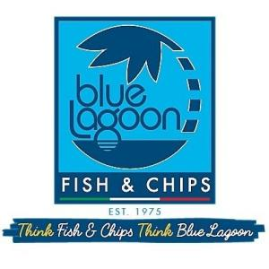 Blue Lagoon logo in dark blue font on pale blue background